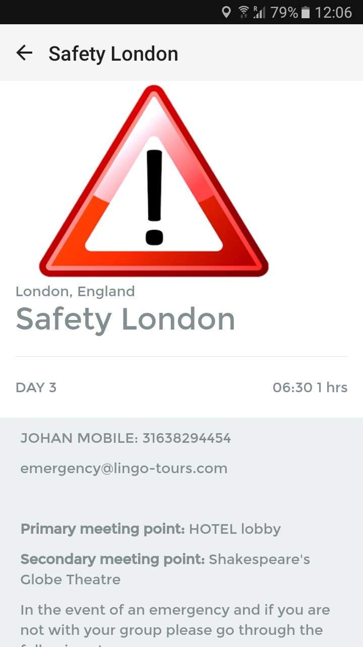 Lingo Tour App Screenshot London Safety Module 1
