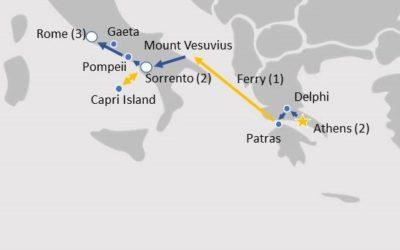 Athens, Sorrento Rome Tour Map ASR841