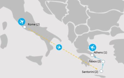 Rome and Greek Islands Hopping Tour Map | Lingo Tours