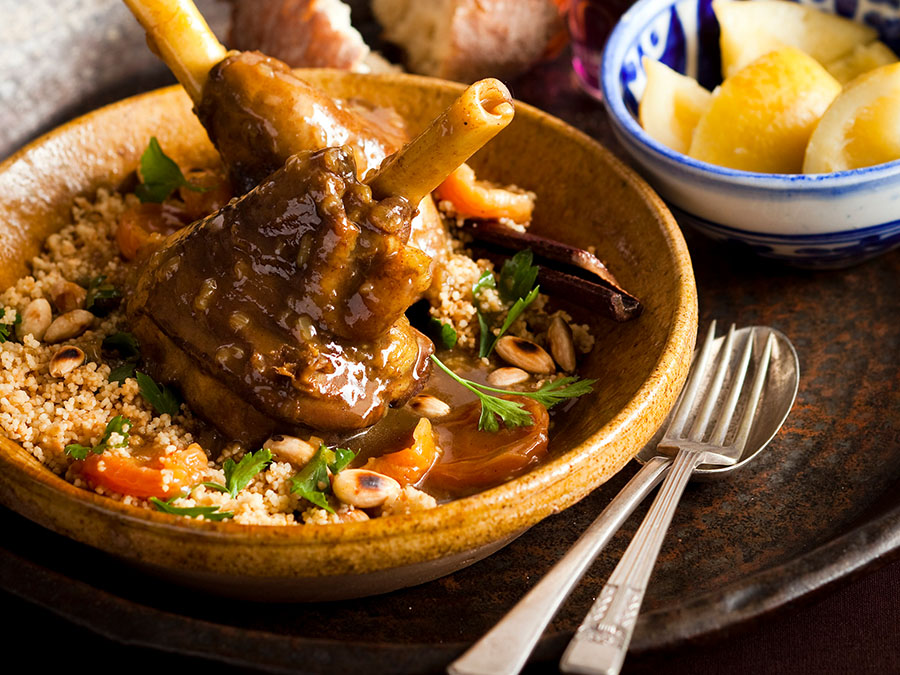 Marrakech food Lamb tagine couscous